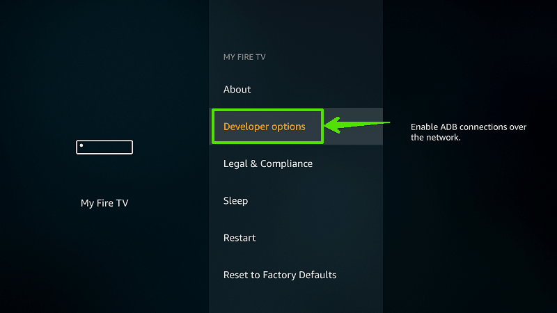 Select Developer options