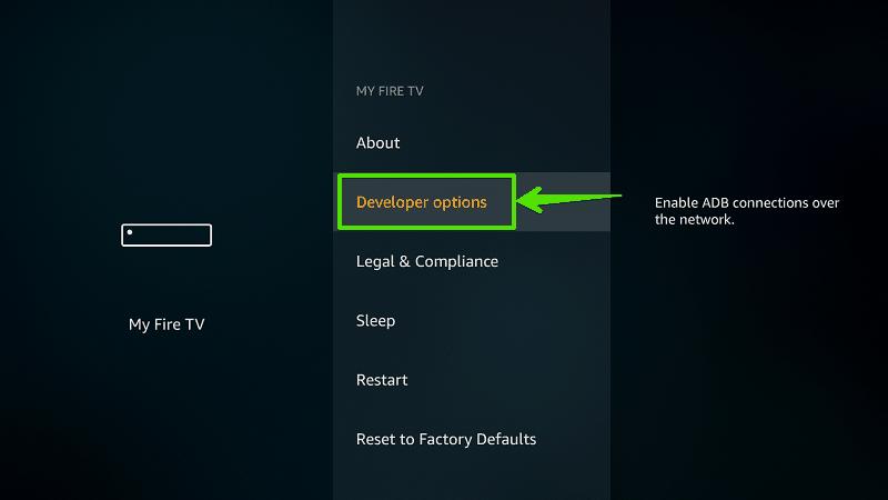 Select Developer options