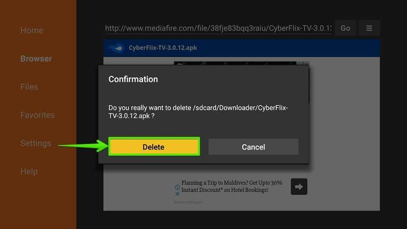 Delete Cyberflix TV APK