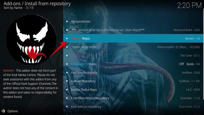 Install Venom Kodi Addon