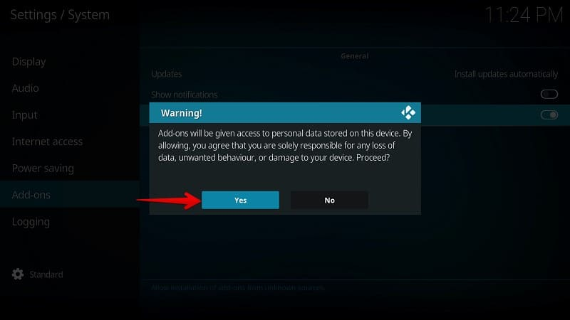 Kodi Unknown Sources Warning Popup