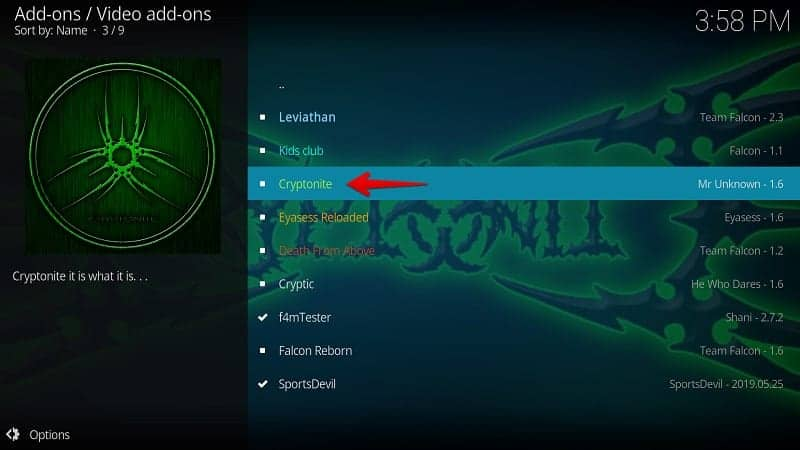 Install Cryptonite Kodi Addon